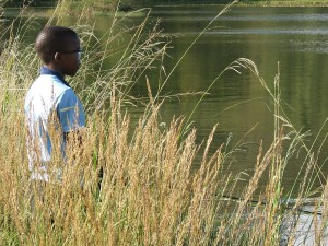Stalking trout in long grass